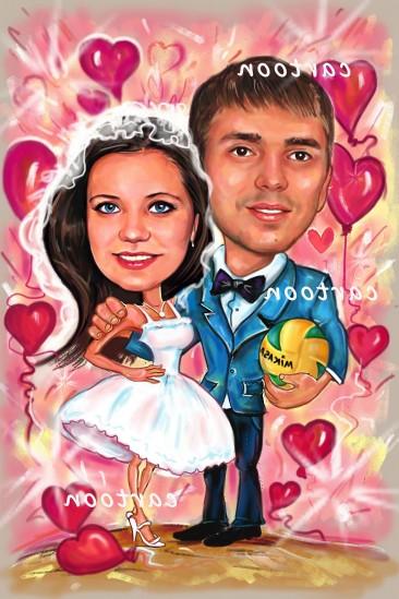 Свадебный шарж с оригинальным сюжетом в Одессе!