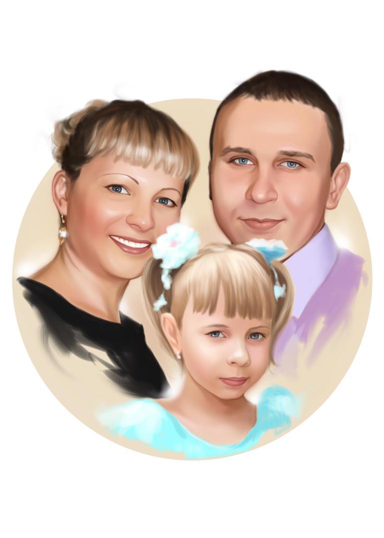 Семейный портрет по фото на холсте в Одессе — правильный подарок!