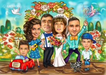 Шарж по фото на годовщину свадьбы на заказ в Одессе…